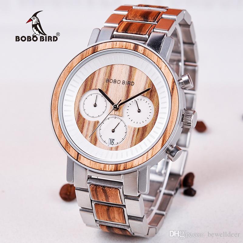 87ee72569a12 Compre BOBO BIRD R01 Reloj Hombre Reloj De Pulsera De Madera Relojes Hombre  Hombre Fecha De Regalo Regalo Saat Erkek Relojes Acero Inoxidable Y Madera  A ...
