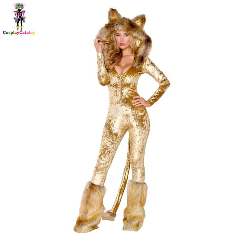 1f88b7f6de8 Furry Velvet Adult Women Halloween Costumes Adult Party Animal Sexy Lion  Costume Faux Fur Deluxe Long Sleeve Female Romper