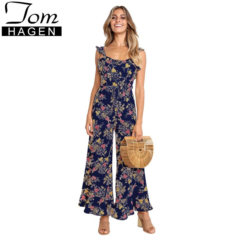 642b5dde77 2019 Summer Casual Floral Jumpsuit For Women Sexy Backless Strap Ruffle  Rompers Womens Jumpsuit Long Pants Female Wide Leg Jumpsuit From  Chongyangclothes