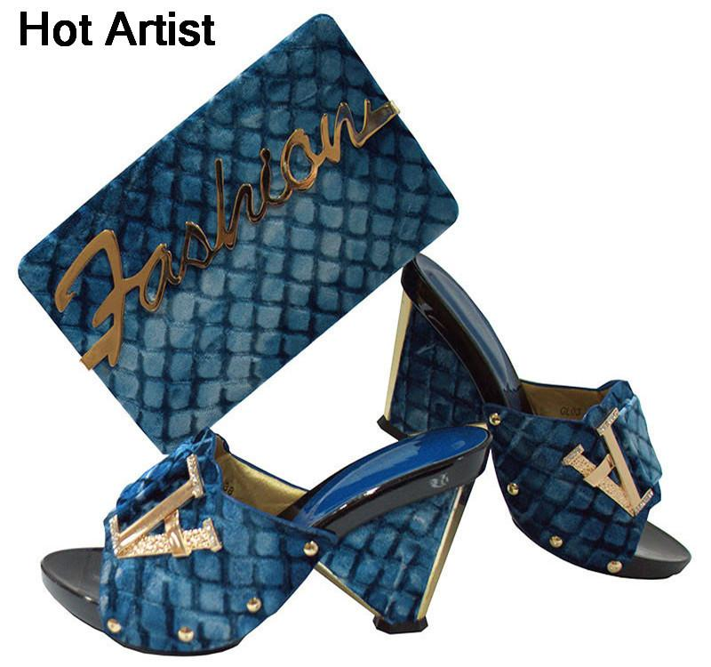 c8861e6a76d Hot Artist Nigerian Decorated With Metal Shoes And Bag Set Italian Style  Ladies Shoes And Bag Set For Woman Dress 7colors Yk03