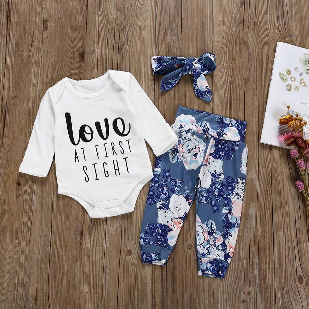 b11e5e508a7 2019 Brand New Newborn Infant Baby Girls Boys Clothes Sets Love Letter Long  Sleeve White Romper Tops+Flower Pants+Headband UK 2019 From  Cutegirl boutique