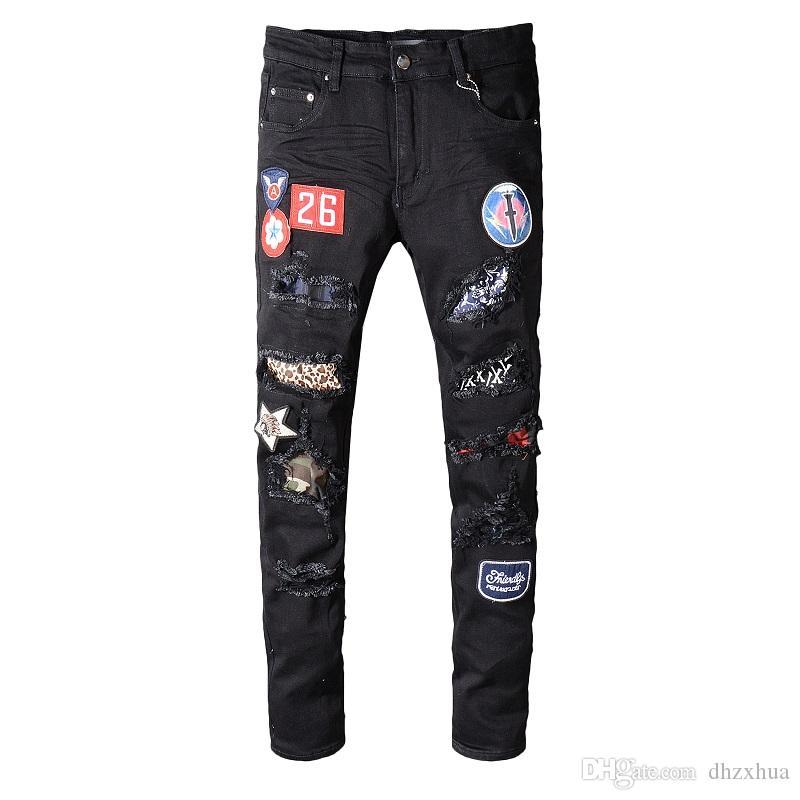 31e8e708fe 2019 Men's Distressed Ripped Skinny Biker Jeans VINTAGE Brand ...