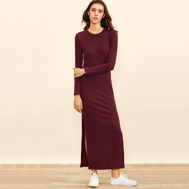 Winter Dresses For Women European Style Women Fall Dresses Burgundy Knitted  Long Sleeve High Slit Ribbed Dress Dresses For Womens Designer Cocktail  Dress ... 3e22910a7