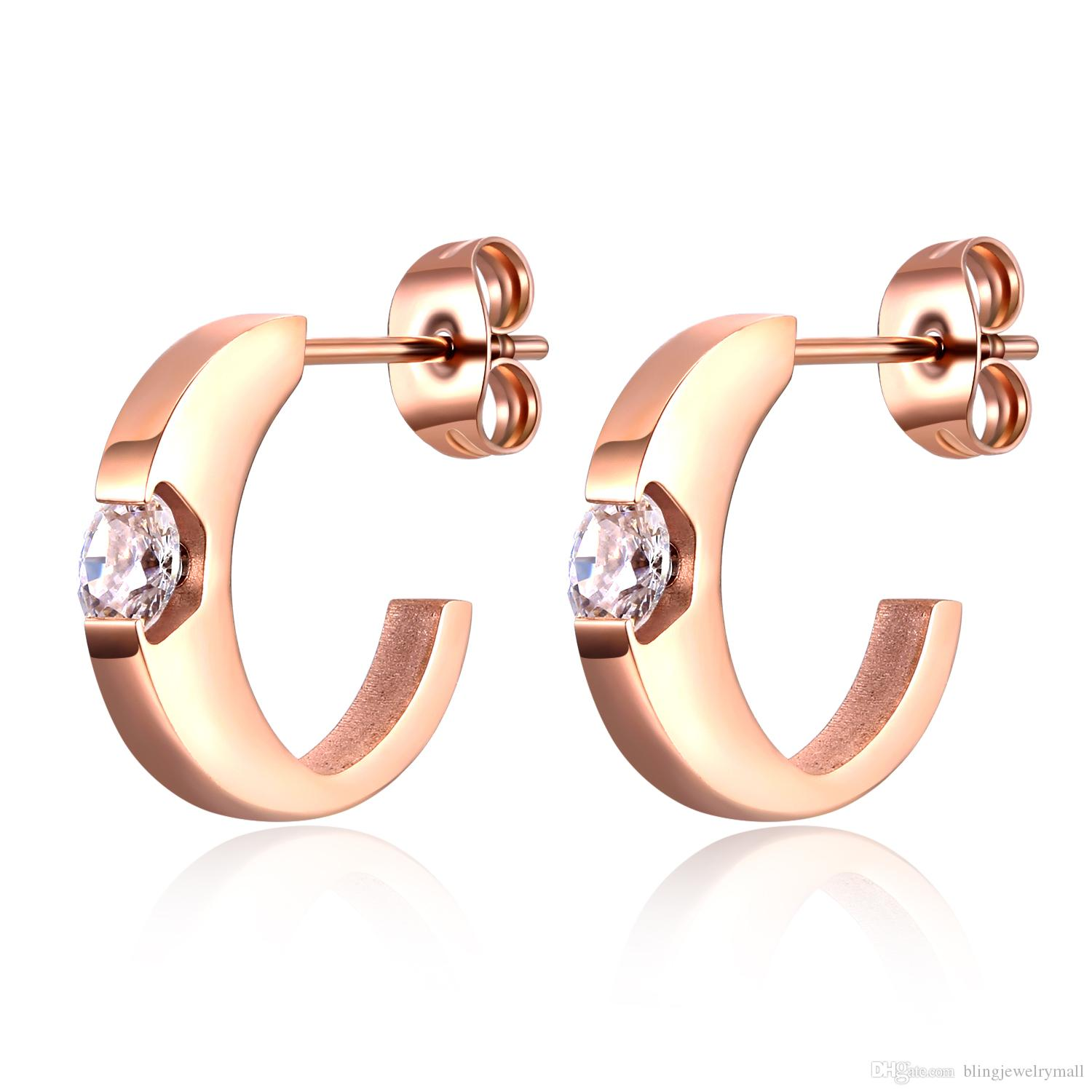 4536631ed Trendy Simple C Design Inlay CZ Stainless Steel Stud Earrings For ...