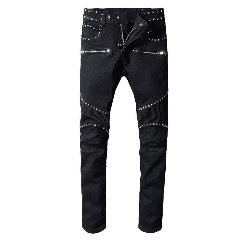 7c5d7dd9200cf Nouvelle-France Style Hommes Moto Metal Rivets Pantalon Déchiré Noir Skinny  Denim Biker Jeans Stretch