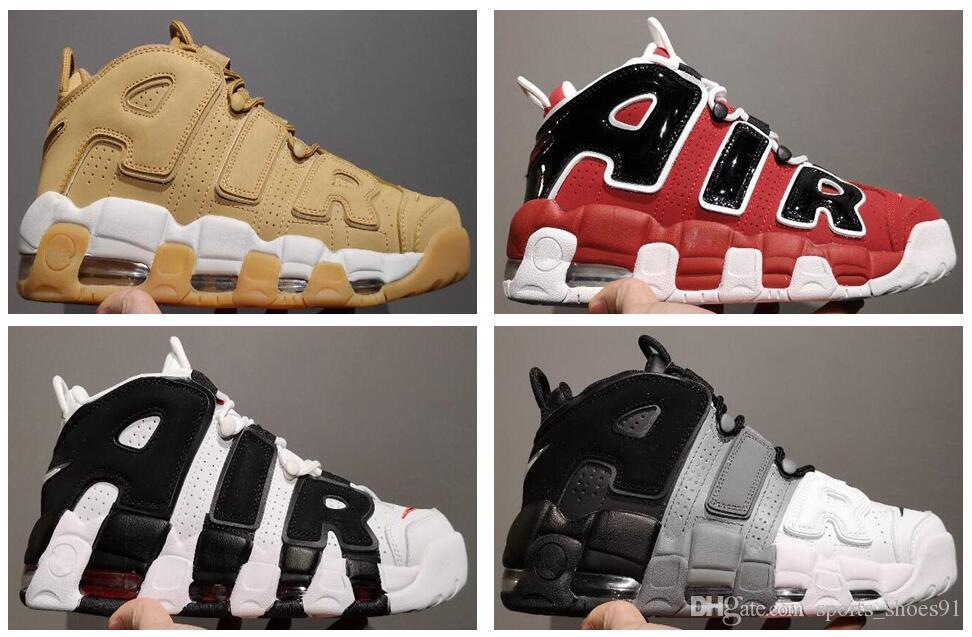 new products b8f40 4a343 Air More Uptempo Mens Basketball Shoes Sup Designer Men Scottie Pippen PE  Triple White Gold Athletic Sports Sneakers Chausseures Sport Shoes Kids  Kids Track ...