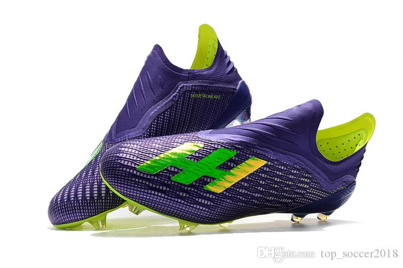cad6da59951 2019 Blue Yellow Messi 100% Original Football Boots Laceless X 18+ FG Men  Soccer Shoes Wholesale Plating Soles Soccer Cleats From Top soccer2018