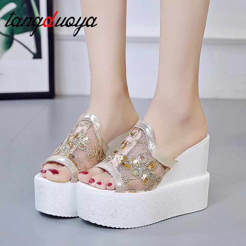 New Fashion Women Platform Slippers Bling Sandals Shoes 12CM Wedge Heels Peep Toe Sandals Ladies Hollow Outside Flip-Flops Woman