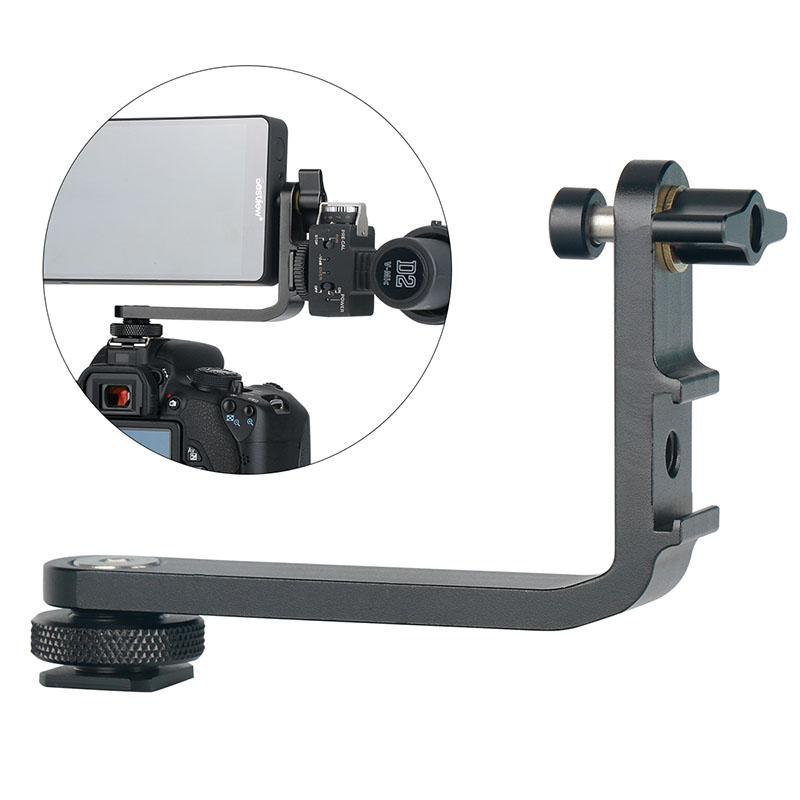 Mic Stand L Bracket Camera Handle Grip for Monitor Gimbal LED Video Light Microphone Mount with 2 Cold Shoe for DSLR Camera