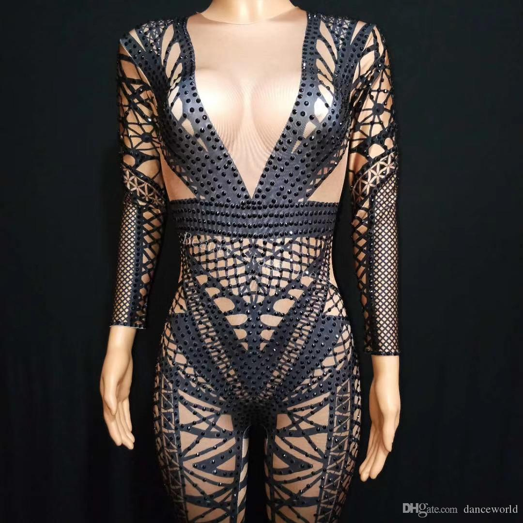a4a54ba878 Women's Fashion Black Jumpsuit Costume One-piece Nightclub Dance Bodysuit  Bandage Printed Outfit Party Stage Celebrate Wear