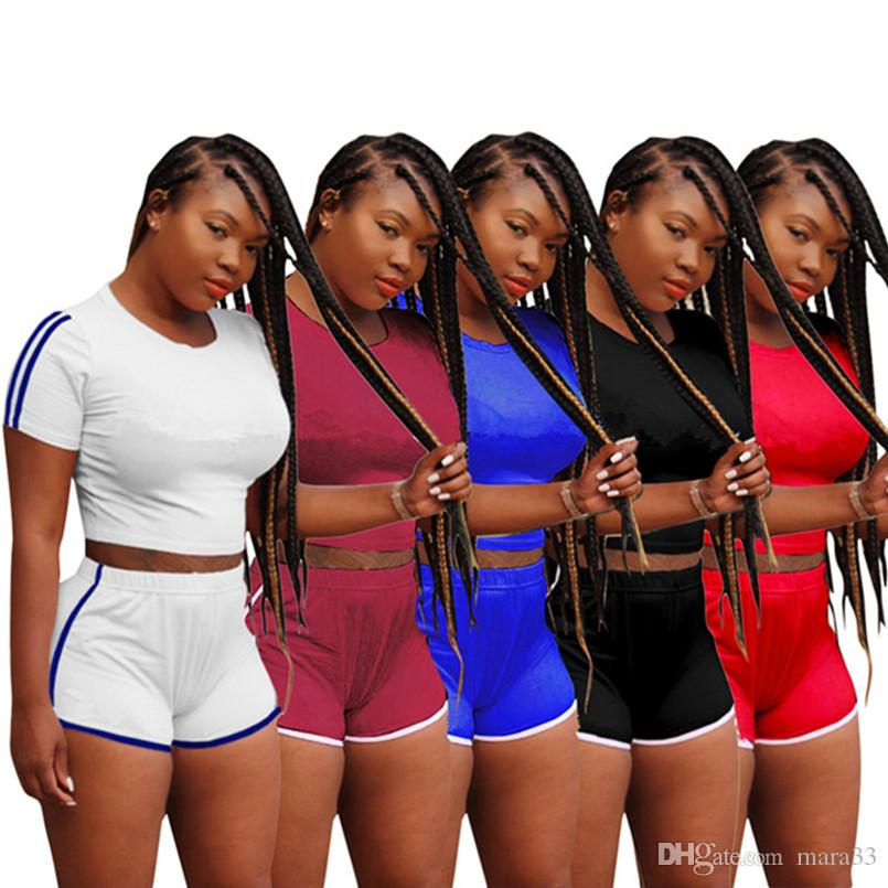 Champions Women summer 2 piece shorts set jogging suit outfit plus size fashion t-shirt short sleeve bodycon leggings shorts above knee 431
