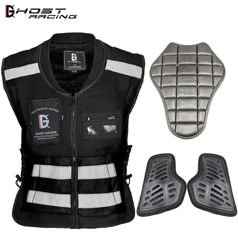 GHOST RACING High Visibility Vest Security Reflective Jacket Motorcycle Body Armor with Safety Back Protector Chest Protector