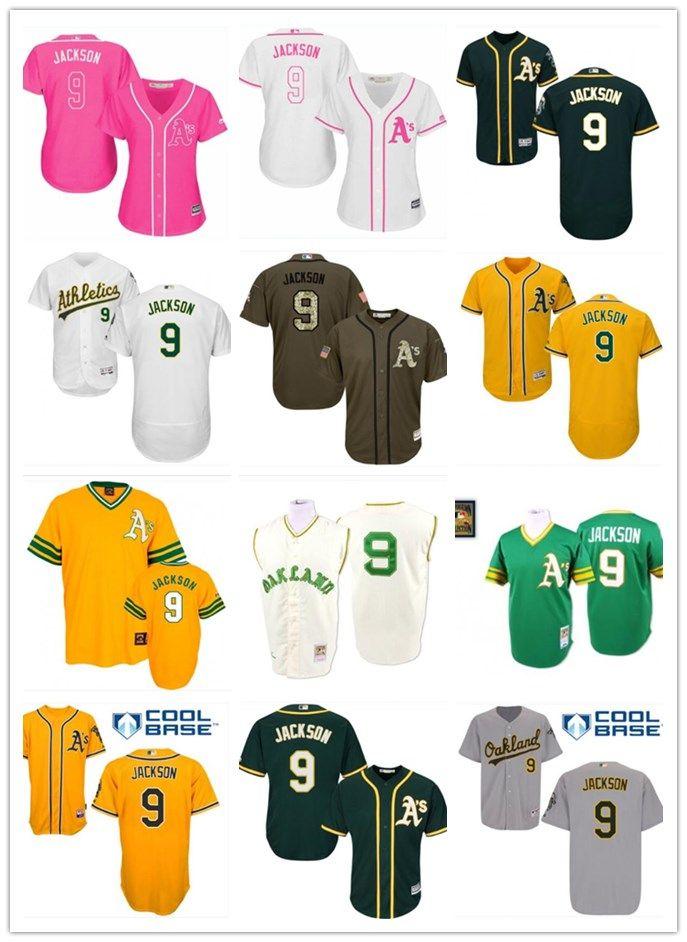 newest collection 35807 286da 2018 top Oakland Athletics Jerseys #9 Reggie Jackson Jerseys  men#WOMEN#YOUTH#Men s Baseball Jersey Majestic Stitched Professional  sportswear