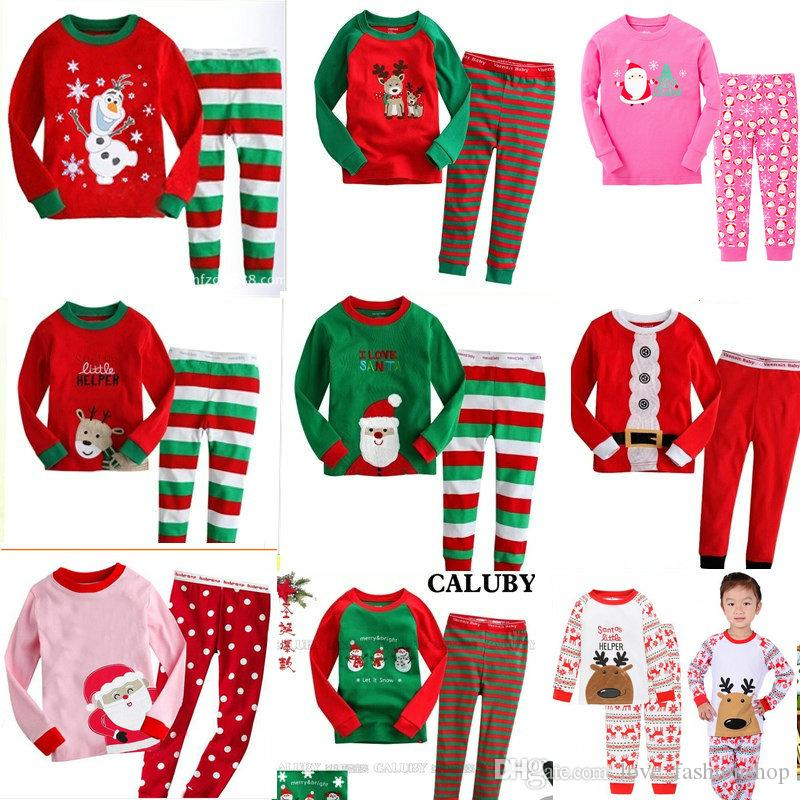Retail 34 Styles New Boys girls Christmas Clothing Sets Long Sleeve Pajamas 2pcs outfit sets(tshirt+pant) Xmas Kids Outfit Boutique Clothes