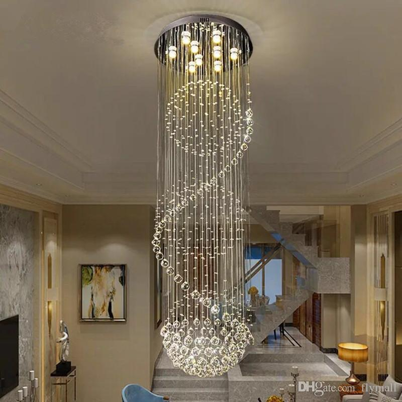 Lovely Large Spiral Crystal Chandelier Led Suspension Luminaire Lights For Living Room Chandelier Lighting Stairway Gold Led Chandelier Convenient To Cook Chandeliers