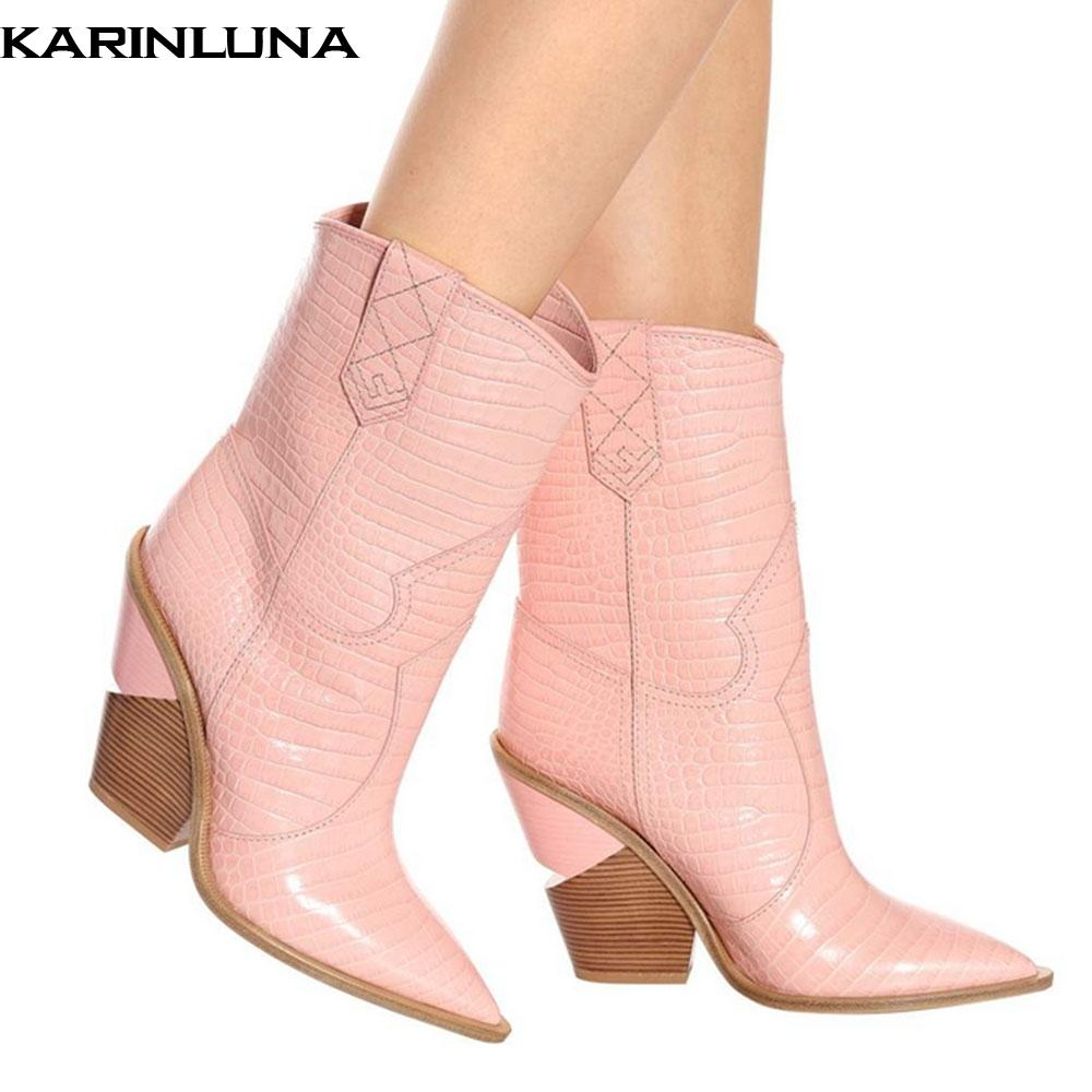 1e419491f54 KARINLUNA Brand Design New 2019 Plus Size 48 Western Boots Women Shoes Retro  Fashion Pointed Toe Strange Heels Boots Woman Football Boots Womens Boots  From ...