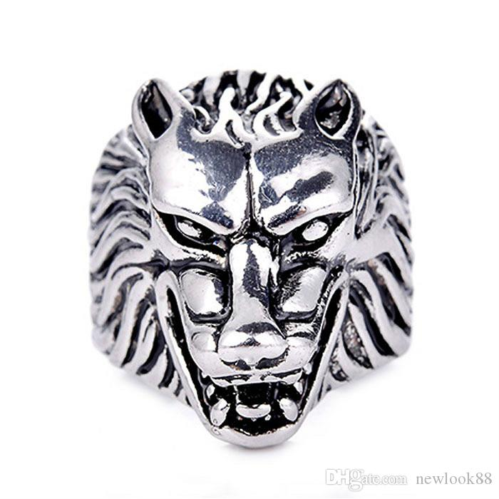 Cool Men's Punk Antique Silver Wolf Animal Rings