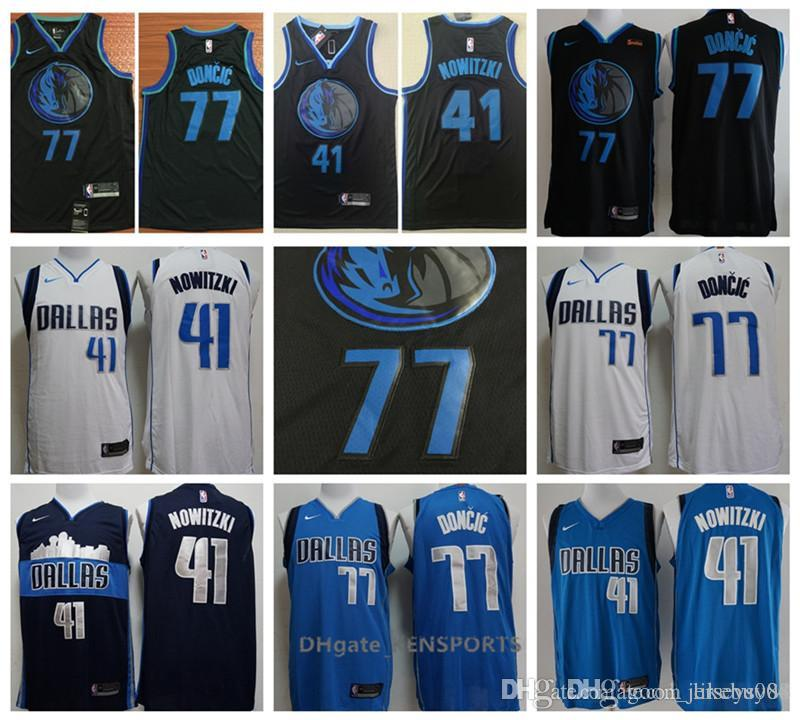 f31ffa4d9 2019 The New 2019 Men Dallas Basketball Mavericks Jersey 41 Dirk Nowitzki  77 Luka Doncic Stitching Jerseys Balck Blue White From Buybuy09