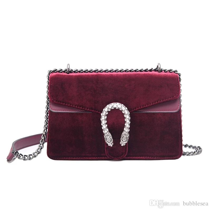 Velvet Chain Bag Tide European And American Fashion Shoulder Bag Lock Mini  Wild Messenger Bag Crossbody Name Brand Purses From Bubblesea d191c380715b