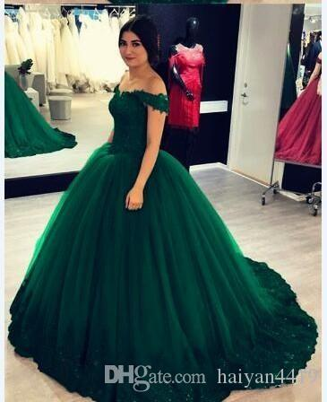 2020 Dark Green Off Shoulder Ball Gown Quinceanera Dresses Lace Appliques Crystal Beaded Sweet 16 Plus Size Party Prom Dress Evening Gowns