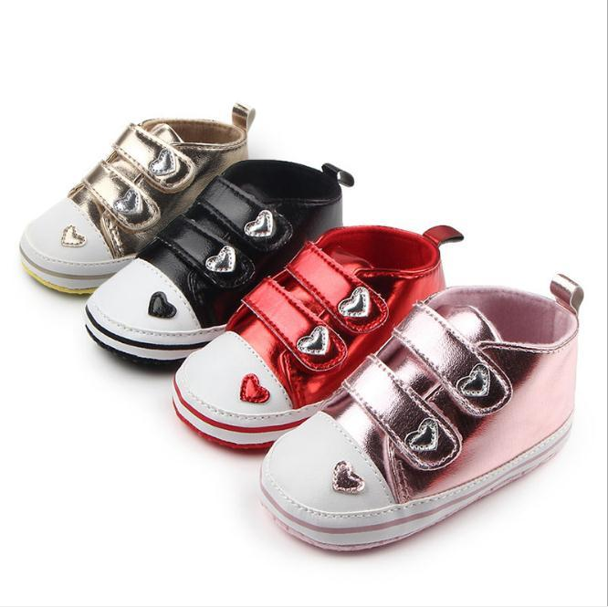Baby Girls Shoes Lovely Heart Toddler Antislip First Walkers Soft Sole Infants Sports Shoes