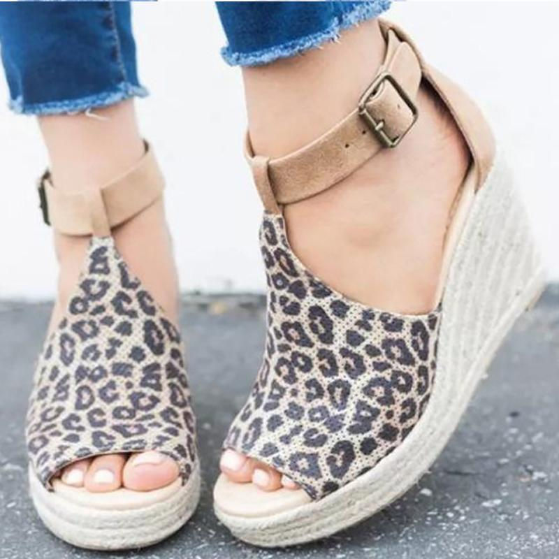 7fbeb06f87d Peep Toe Leopard Sexy Summer Women Sandals Large Size 4 10.5 High Heel  Sandals Ladies Buckle Platform Sandals Zapatos Mujer Shoes For Women Nude  Wedges From ...