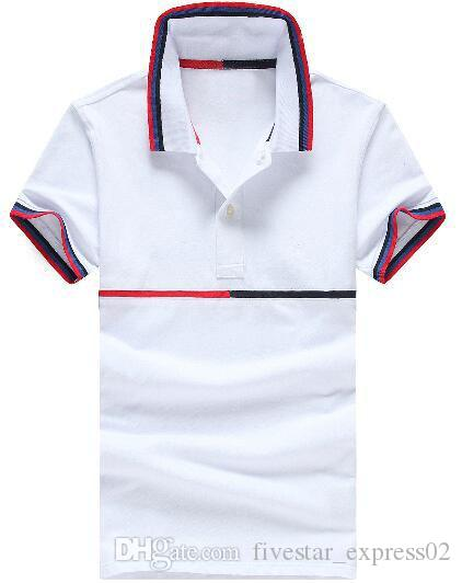 b0bf7d80 2019 Hot Summer Men Striped Polos American Fashion Short Sleeve Male Casual Polo  Shirts Sport Racing Nautica Tshirt Tops Navy Blue White Red From ...