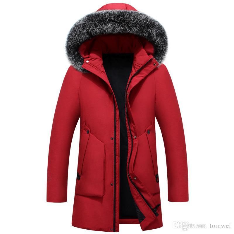 5f09c5a6876a8 Down Parka Mens Winter Coats Long Down Jacket Fox Fur Hood Slim Fit Thicken  Warm Outerwear Snow Overcoat Korean Tops 2018