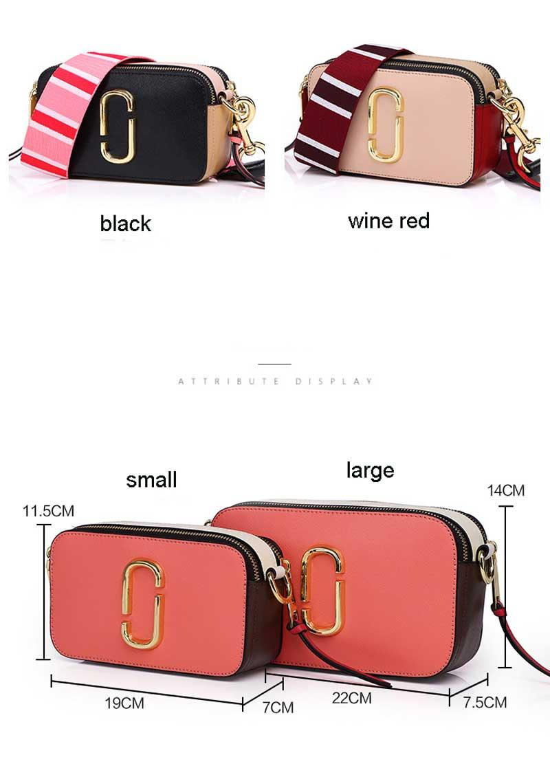 2019 New Spring Camera Bag Wide Shoulder Strap Small Square Genuine Leather Crossbody Bags For Women Double Zipper Messenger Bag