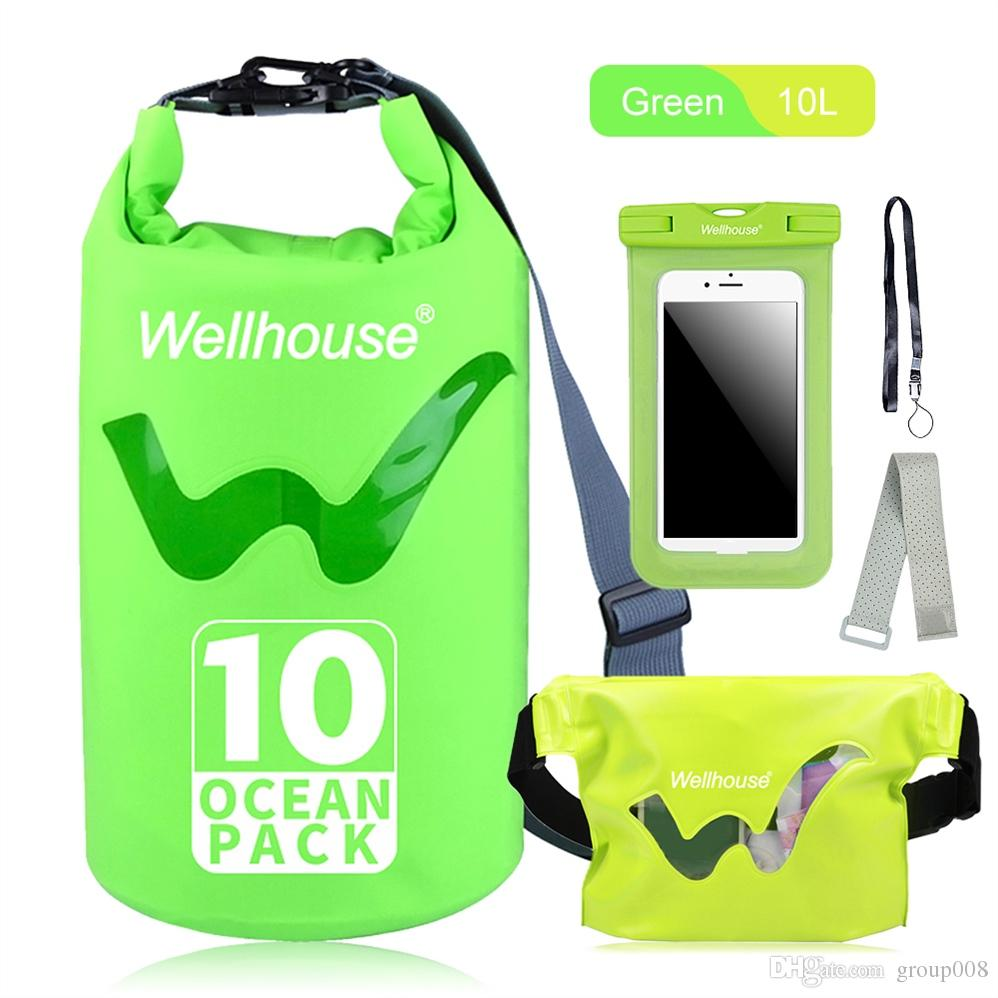 new arrivals 06c4c 0a895 Waterproof Dry Bag Set Outdoor Storage Beach Swimming Bags Waist Bag Pack  Phone Case for Travel Kayking Rafting Boating #690602