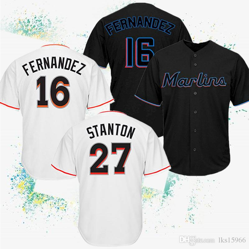 official photos a3663 7bbd1 2019 Miami 16 Jose Fernandez Marlins Baseball Jerseys 27 Stanton High  quality embroidery Cheap jerseys Breathable absorbent Men s shirts