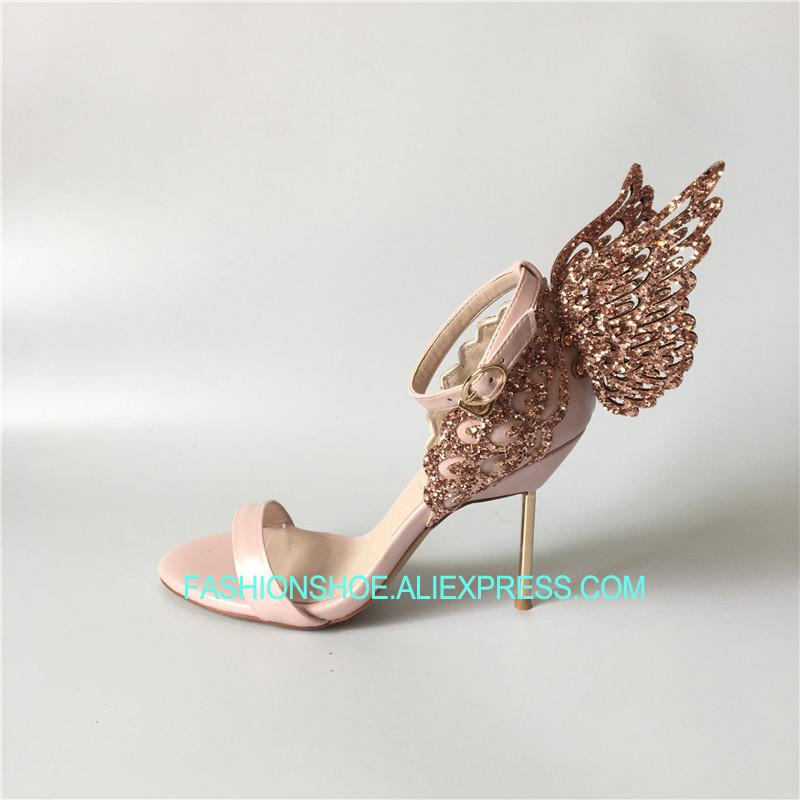 Pink Glitter Butterfly Wine Sandals Angle High Heels Summer Hot Wedding  Bride Dress Shoes Ladies Pumps Big Size Euro 42 Cheap Shoes For Women Brown  Shoes ... 78c072e4f5