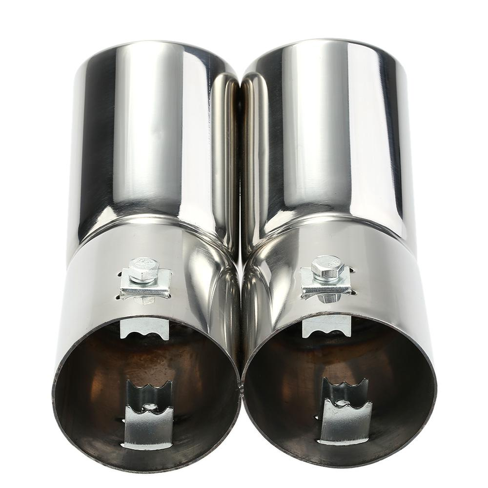Freeshipping Car Tail Pipes Replacement Car Style Dual Pipe Stainless Steel Exhaust Tail Pipes Muffler Tips for VW Golf 4 Bora Jetta