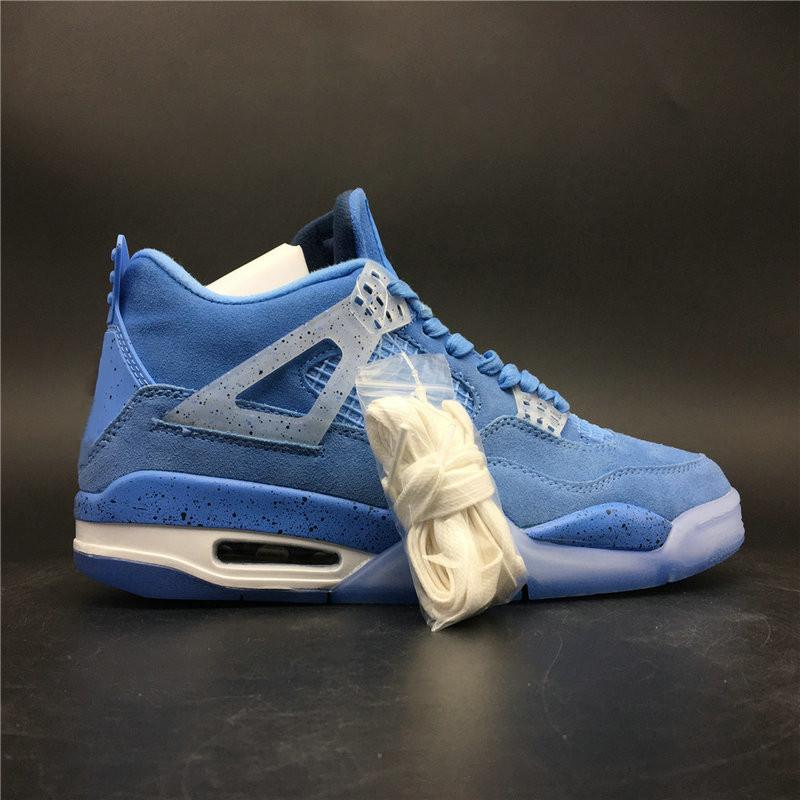 new concept e4511 6af7d New Release 4s University Blue White Man Basketball Designer Shoe Amazing  Suede IV UNC Sky Blue Fashion Trainers Top Quality