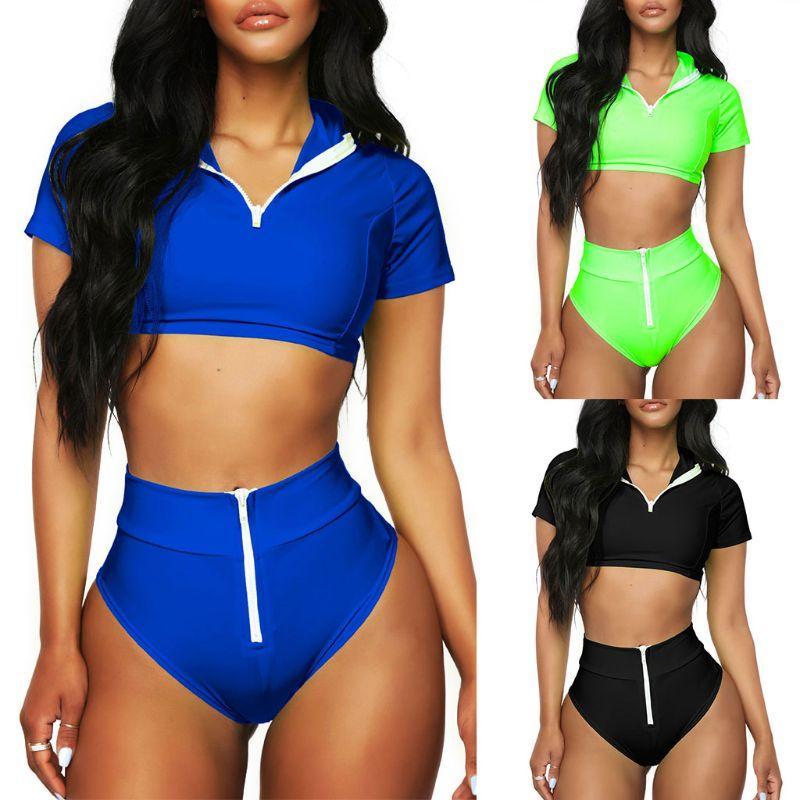 0b57981321 2019 Women Sexy Two Piece Bikini Set Push Up Padded Short Sleeve Crop Top  Sport Swimsuit High Waist Zipper Up Thong Solid Color Beach From Biaiju, ...