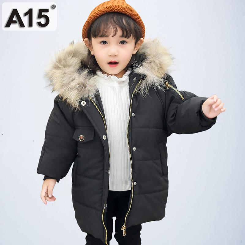 e85dda8cf A15 2019 Baby Girls Winter Coats Hooded With Fur Toddler Clothes Park Children  Jackets For Girls Kids Outerwear Size 2T 4 6 Year Overcoat For Girls Girls  ...