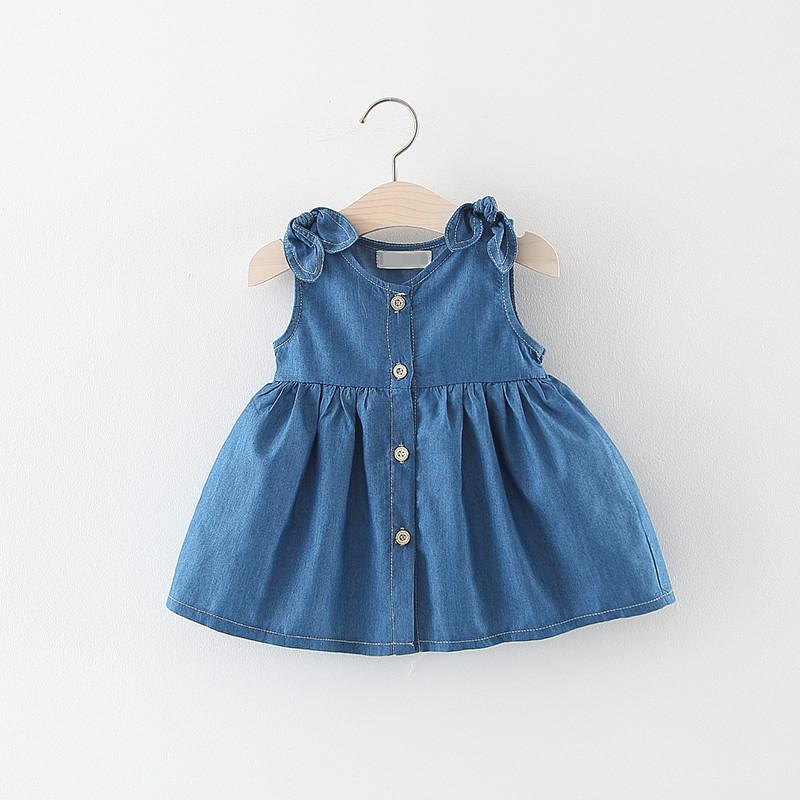 6bdce26902128 baby girl Jeans dress Toddler Baby Kids Girls Princess Summer Sundress  Party casual fashion Dress Clothes baby girl kids