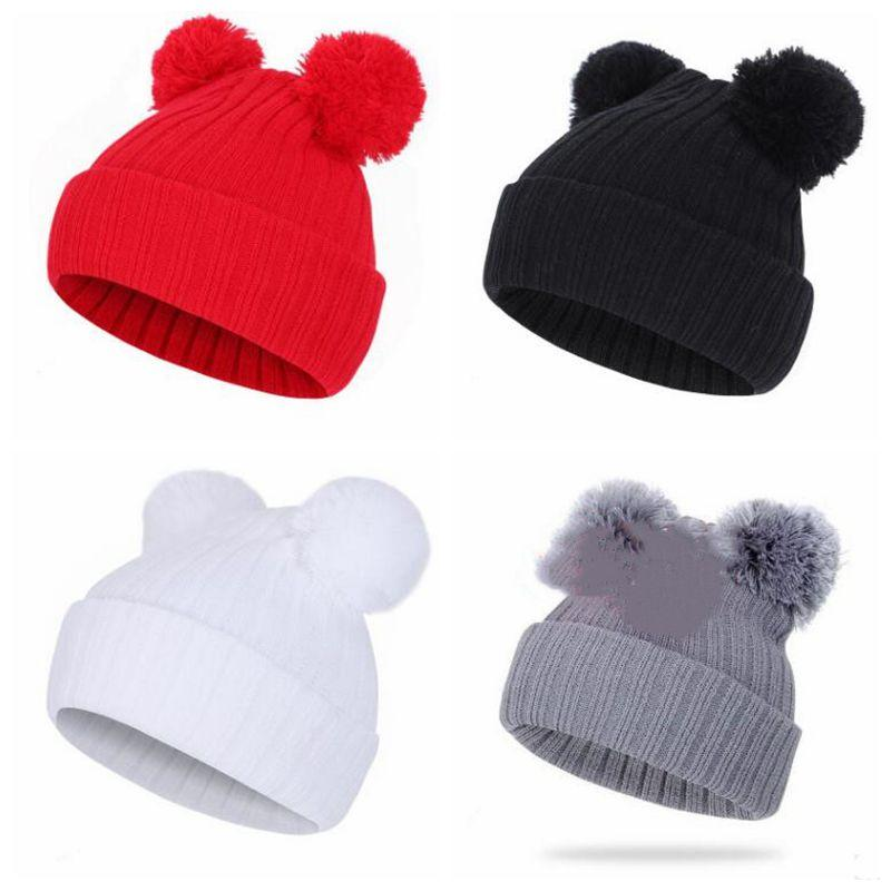 Pom Pom Knit Hats Fur Ball Beanie Mouse Winter Ski Skull Caps Kids Crochet Skullies Cap Hats Ear Warmer Wool Outdoor Caps C6909