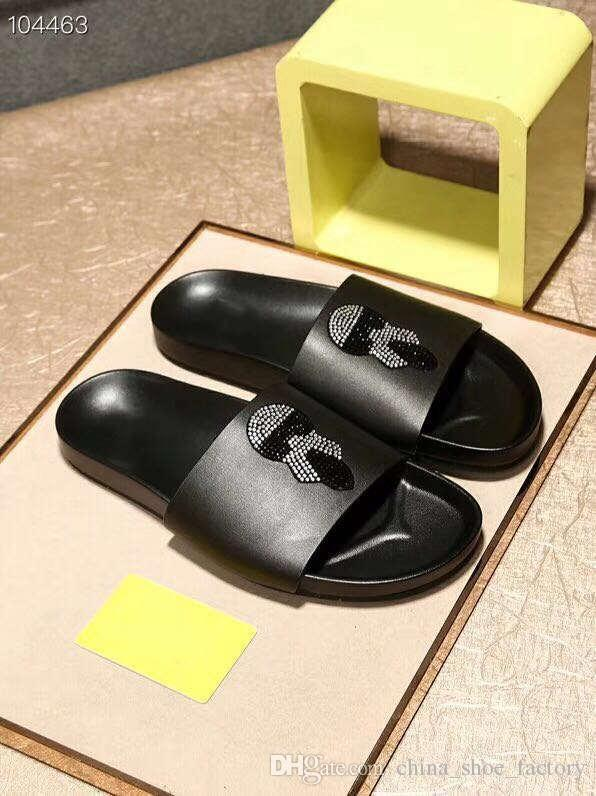 e376188165668 2019 New Style On The Market, Black Mosaic Drill Leather Slippers, Cheap  And Fine Men Slippers, Size 38 46 Pink Shoes High Heel Boots From ...