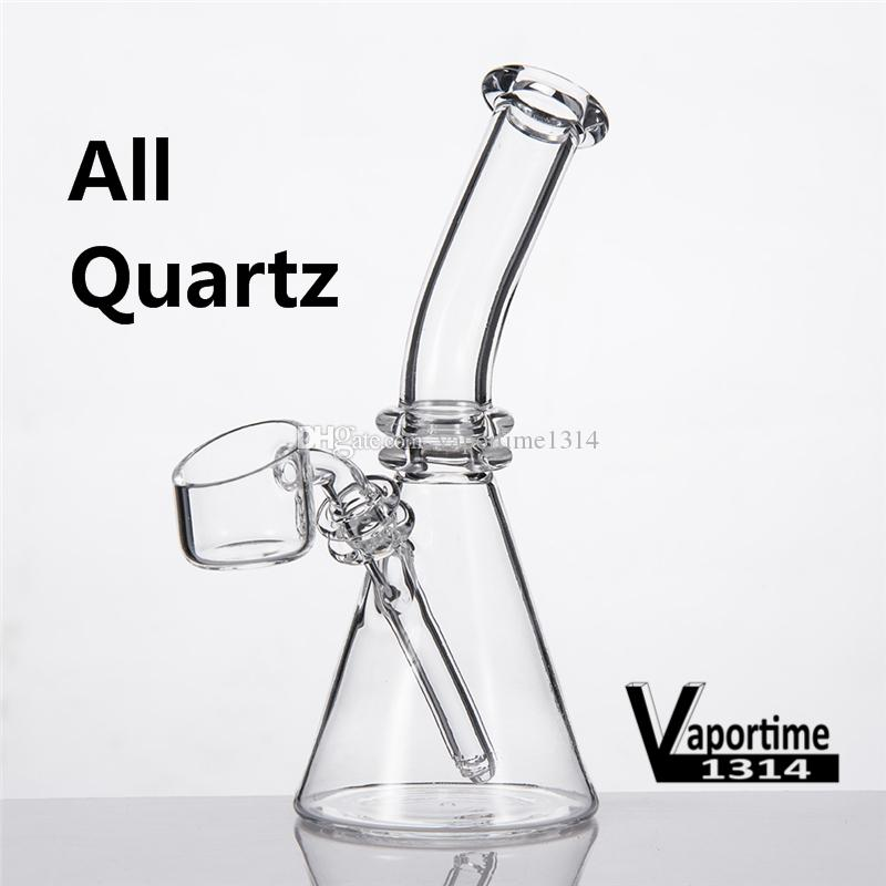 Quartz Mini Bongs Beaker 5 Inches Flat Bevel Daisy Bowl Banger Nails  Individual Black Box Water Pipe Dab Rig Inline 343