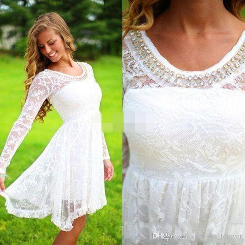 adc22601c55 Discount Short Casual Country Wedding Dresses With Long Sleeves Crystal  Neckline Knee Length Full Lace Wedding Gowns Short Beach Bridal Dress  Weddingdresses ...
