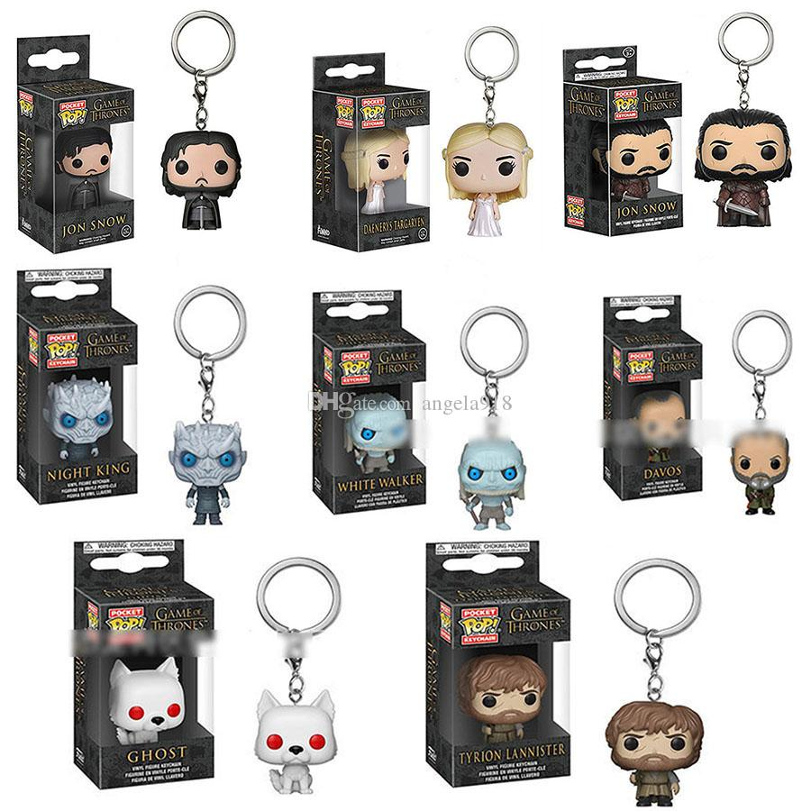 Game of Thrones keychain Cartoon Daenerys jon snow Action Figures Toys key ring Funko POP Pendant for Kids Gift 8 styles C6741