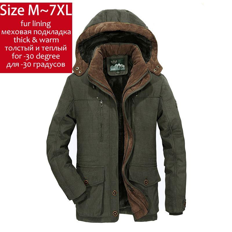 fb1432fea 2019 YIHUAHOO Winter Jacket Men 5XL 6XL Thick Warm Parka Fleece Fur ...