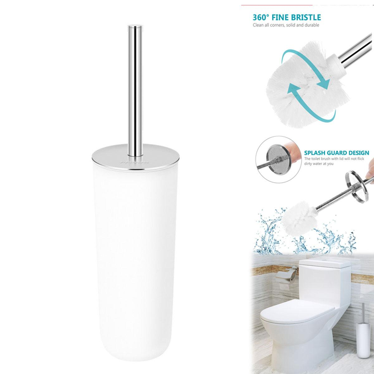 Toilet Brush Holder Set Stainless Steel Grip Compact Modern Design Toilet Bowl Cleaner Brush Set Stand For Bathroom Cleaning