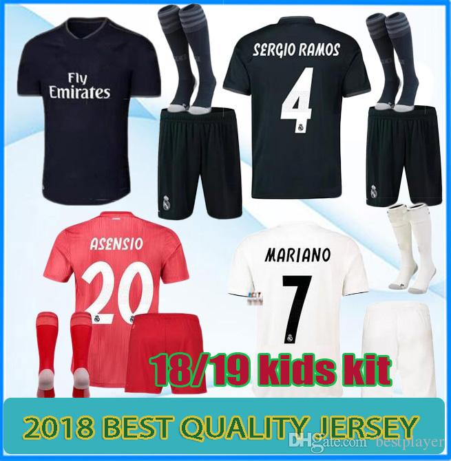 9eb7178d7 2019 Real Madrid Soccer Jersey Kids Kits Youth Boys Child 2018 2019 Mariano  ISCO Modric ASENSIO BALE KROOS Football Shirts Set From Bestplayer