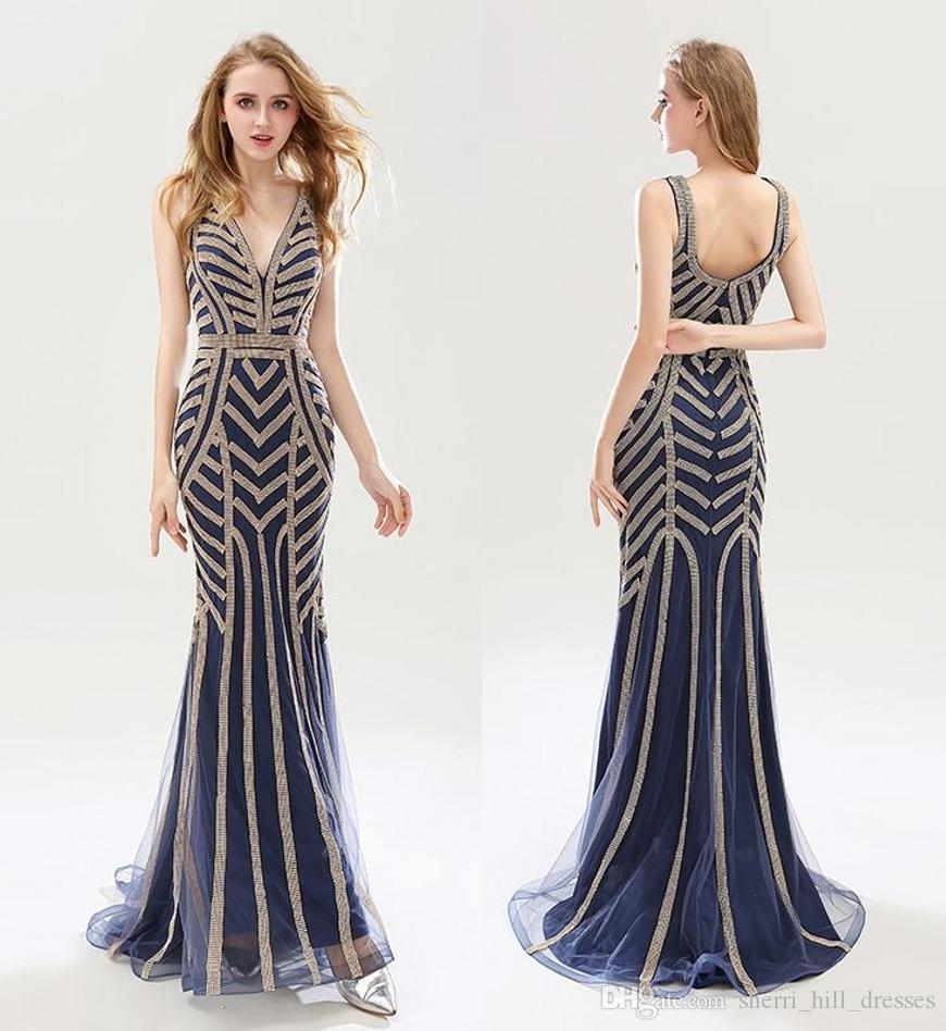 d045ae259ed13 Satın Al Satış Güzellik Boncuk Mermaid Abiye Seksi Tül V Yaka Uzun Kadınlar  Önemli Parti Elbiseler Lüks Altın Balo Praty Abiye DH02, $301.51 |  DHgate.Com'da