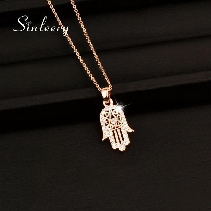 Agradable clásico de la mano de Fátima Hamsa colgantes del collar de color rosa en oro de joyería Declaración de Palm cadena para mujeres XL681 SSB