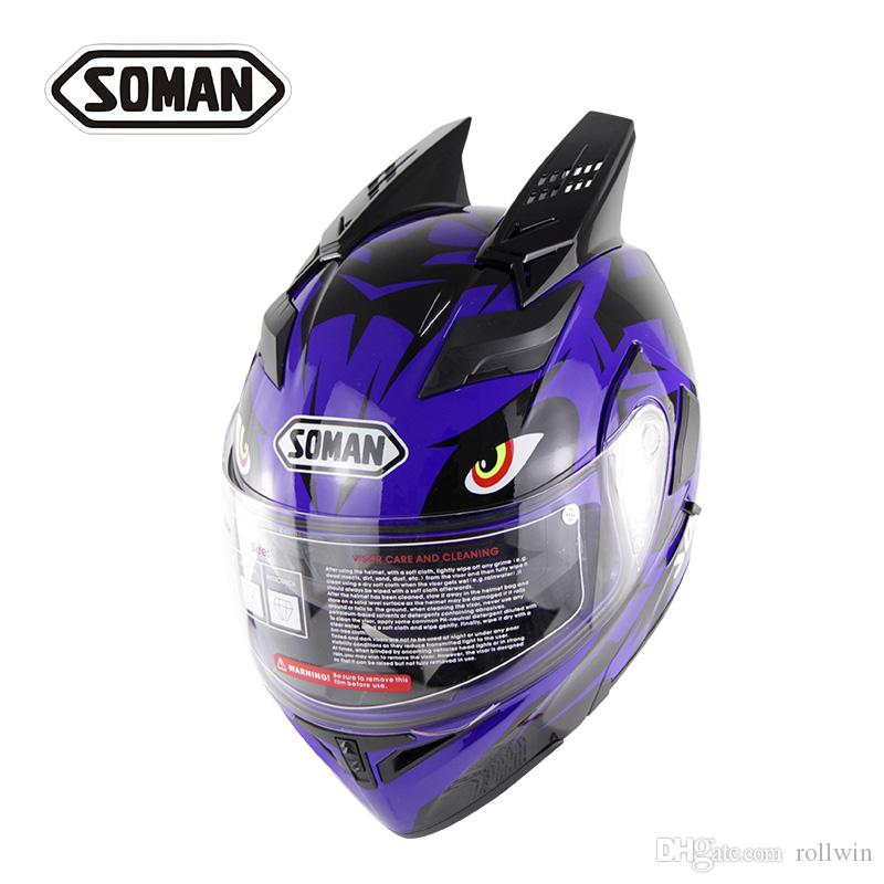 Soman flip up helmet with motorcycle helmet accessories horn double lens motorbike riding casco motocross cycling capacetes SM955