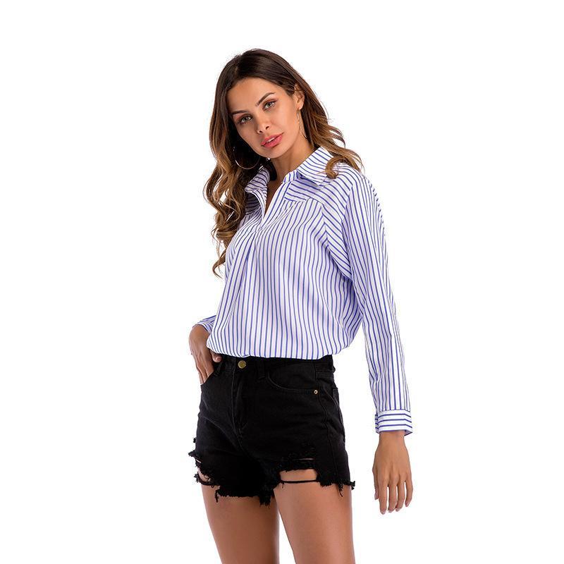 f011dc9bfe Compre Camisa Azul De Verano Blusa Para Mujer Ropa De Trabajo OL De Manga  Larga 2019 Nuevas Blusas De Moda Camisas WS6463U A  36.31 Del Jincaile03