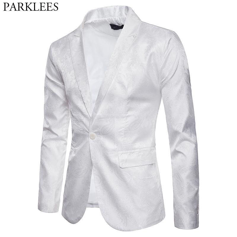 65ddce8156fa4 Satın Al Erkek Çiçek Slim Fit Beyaz Blazer Ceket 2019 Yeni Bir Düğme  Çentikli Yaka Şık Casual Suit Parti Yemeği Smokin Blazer Erkek, $91.04 |  DHgate.Com'da
